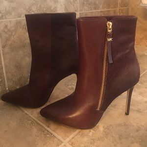 Michael Kors Leather & Calf Hair Boots Size 7.5